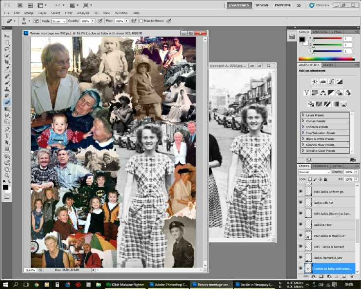 Photo montage, being worked on in Photoshop